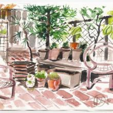 Larry Thomas' Terrace Watercolor