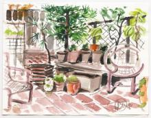 Larry Thomas' Terrace Watercolor